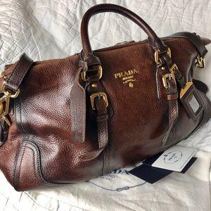 Prada Cacao Deerskin Leather Cervo Antik Handbag